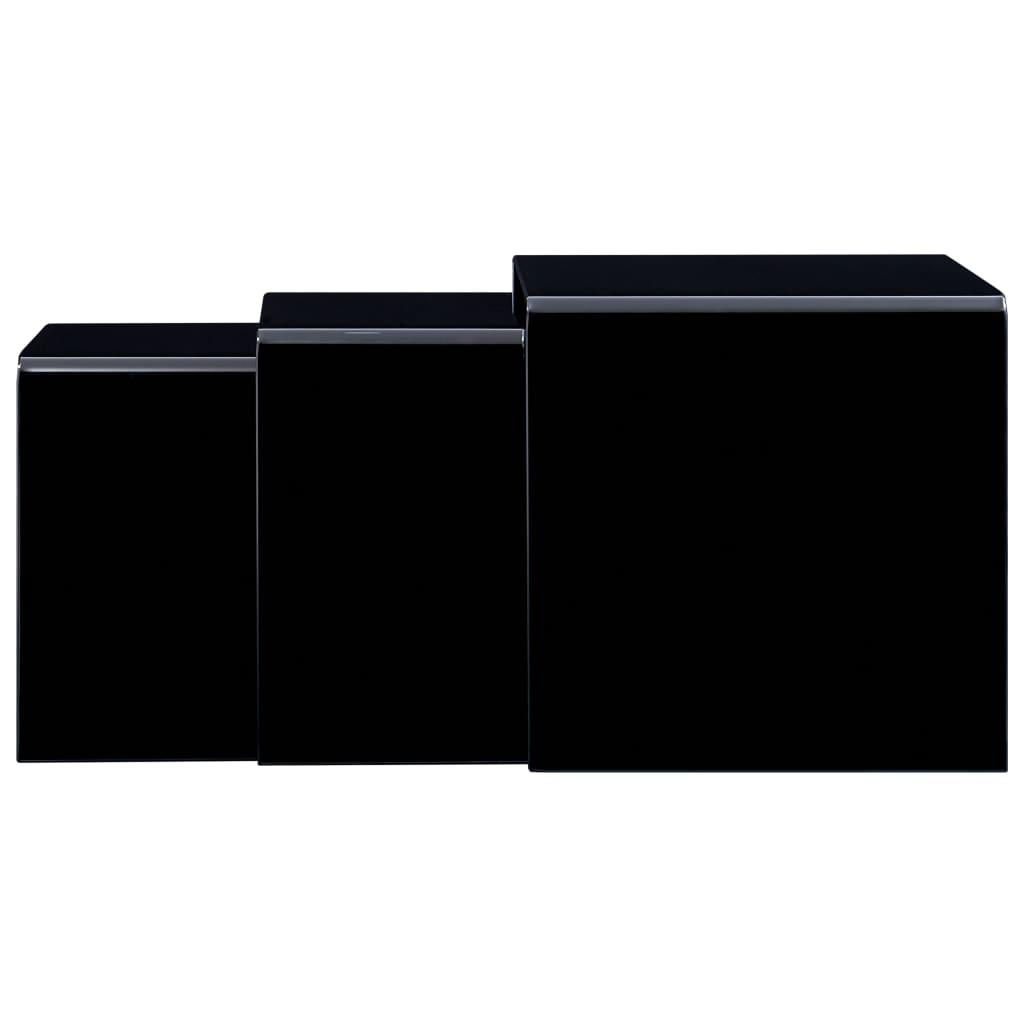 vidaXL Mese cafea suprapuse, 3 buc., negru, 42 x 42 x 41,5 cm, sticlă