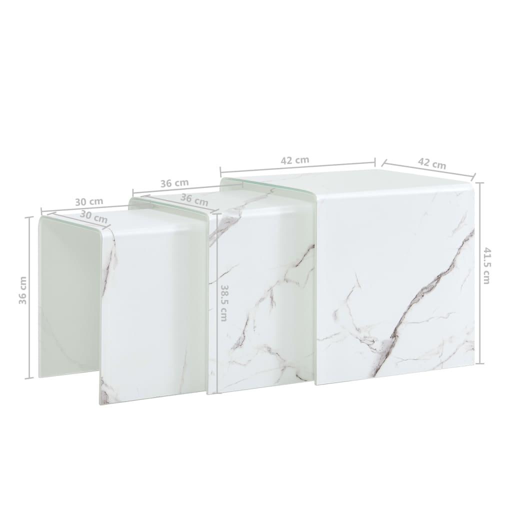 Mese cafea suprapuse 3 buc., alb marmură, 42x42x41,5 cm, sticlă