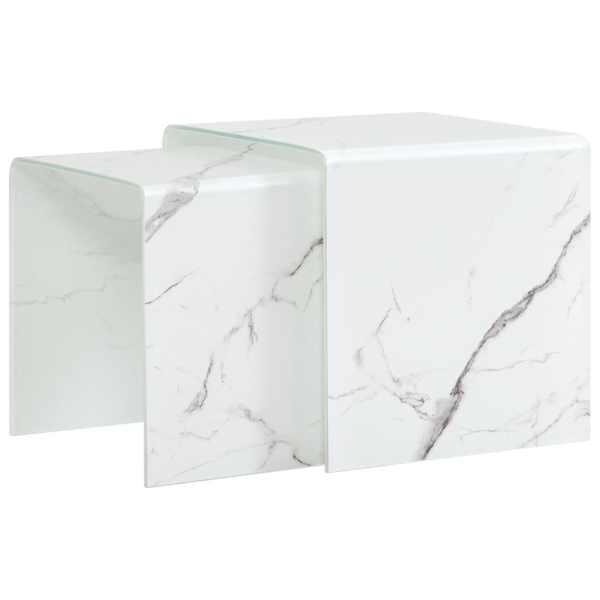 vidaXL Mese cafea suprapuse 2 buc., alb marmură, 42x42x41,5 cm, sticlă
