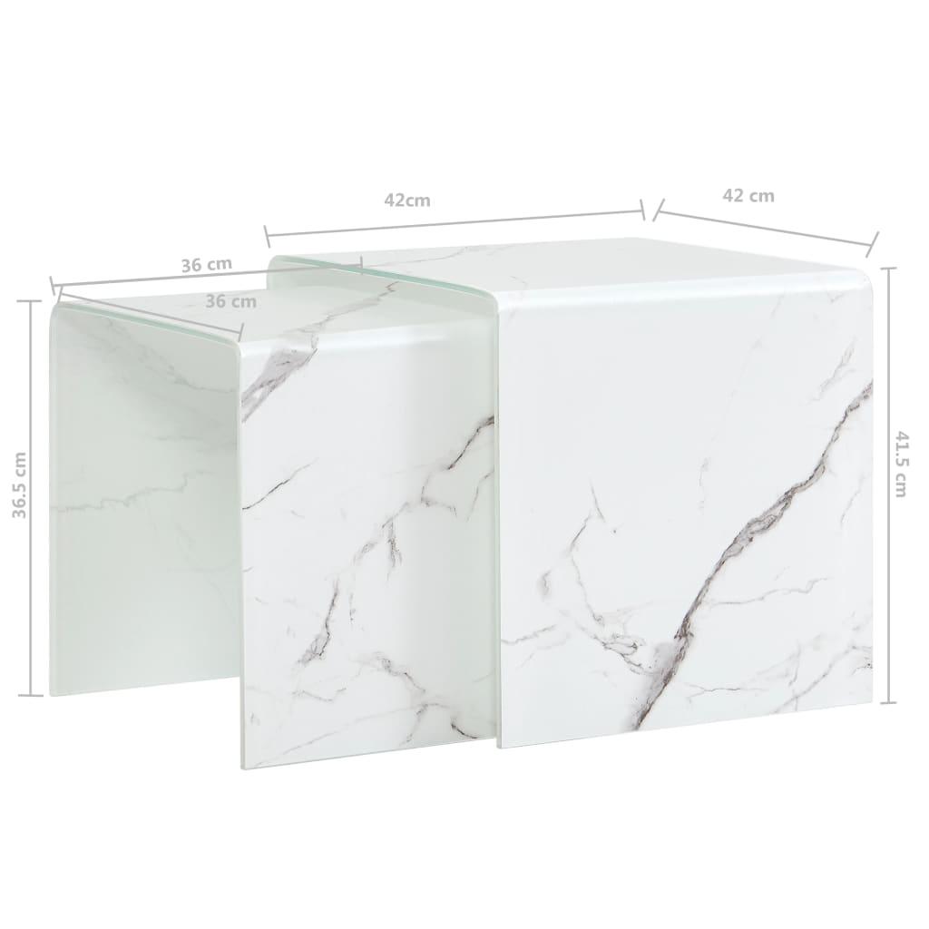 Mese cafea suprapuse 2 buc., alb marmură, 42x42x41,5 cm, sticlă