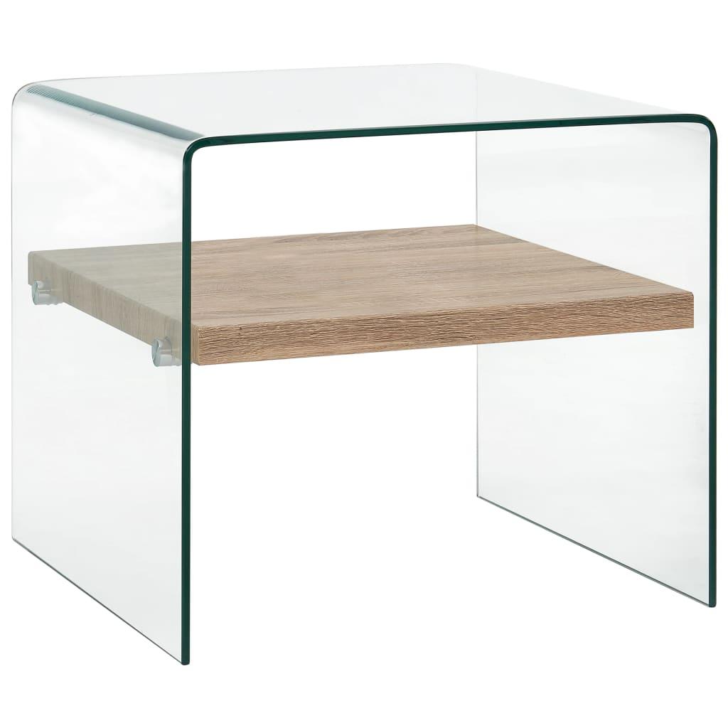 vidaXL Măsuță de cafea, transparent, 50x50x45 cm, sticlă securizată