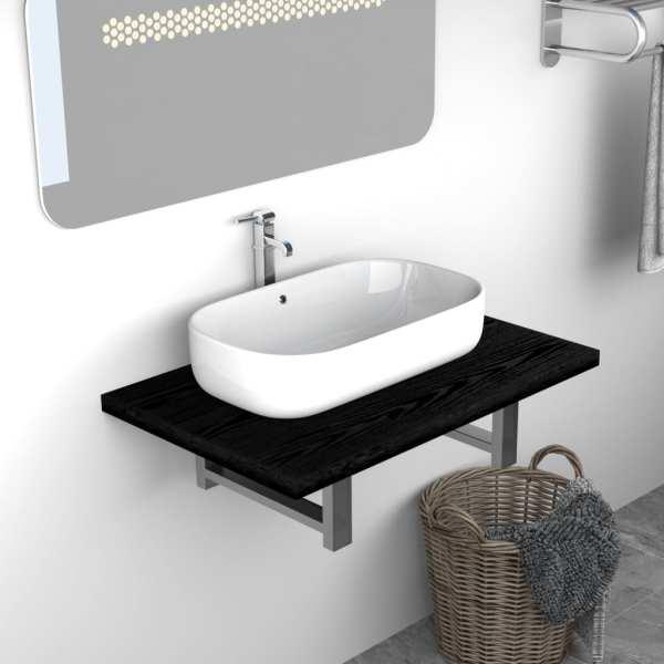 vidaXL Mobilier de baie, negru, 60 x 40 x 16,3 cm