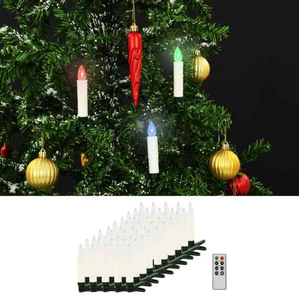 vidaXL Lumânări Crăciun LED wireless cu telecomandă 50 buc. RGB