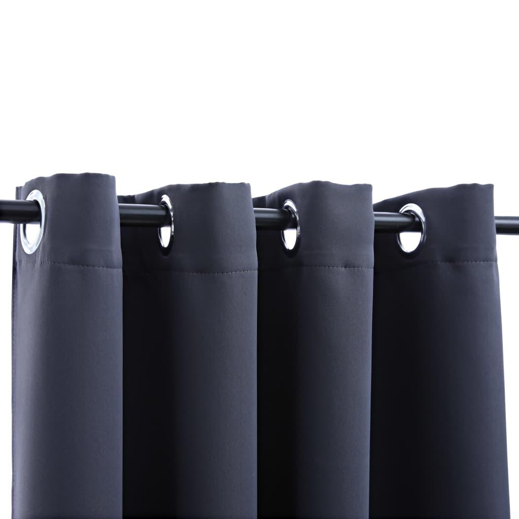 vidaXL Draperii opace cu inele metalice, 2 buc, antracit, 140 x 175 cm