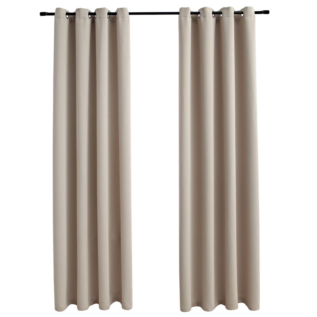 Draperii opace cu inele metalice, 2 buc., bej, 140 x 175 cm