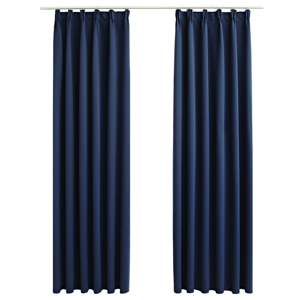 vidaXL Draperii opace cu cârlige, 2 buc., albastru, 140 x 245 cm