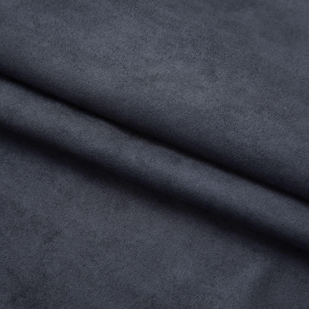 Draperii opace cu cârlige, 2 buc., antracit, 140 x 245 cm