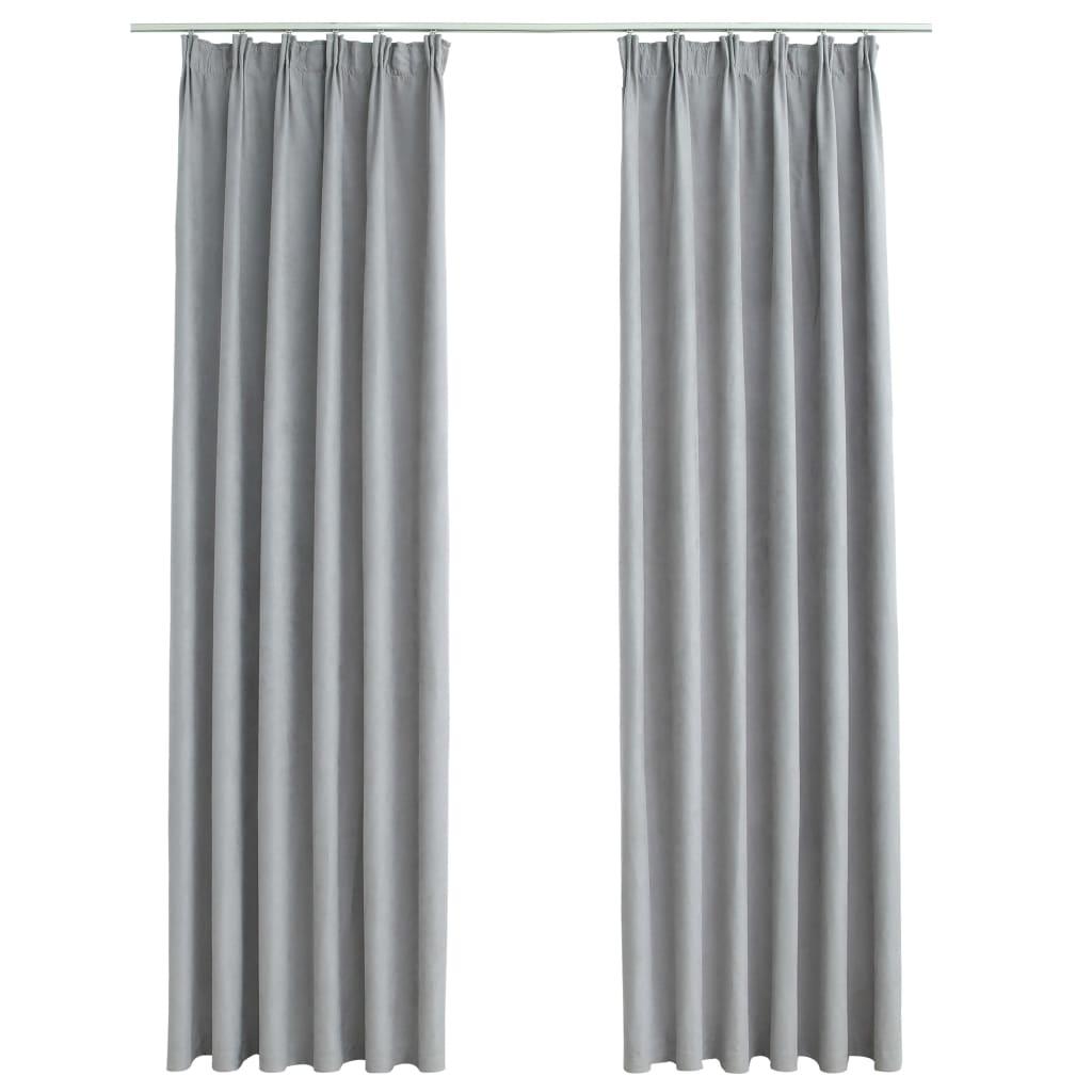 Draperii opace cu cârlige, 2 buc., gri, 140 x 175 cm