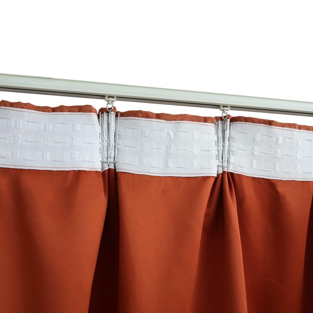 Draperii opace cu cârlige, 2 buc., ruginiu, 140 x 225 cm