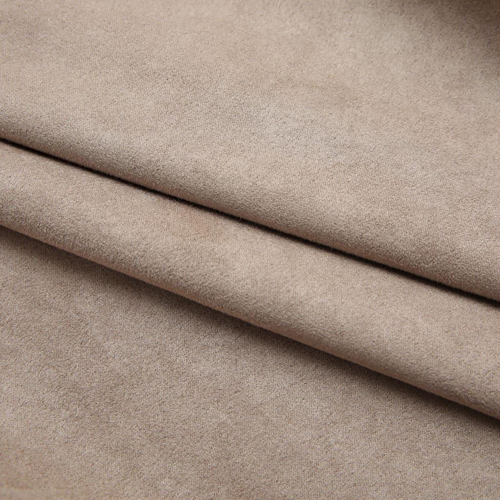 Draperii opace cu cârlige, 2 buc., gri taupe, 140 x 245 cm