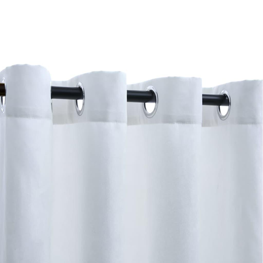 Draperii opace cu inele metalice, 2 buc., alb, 140 x 245 cm