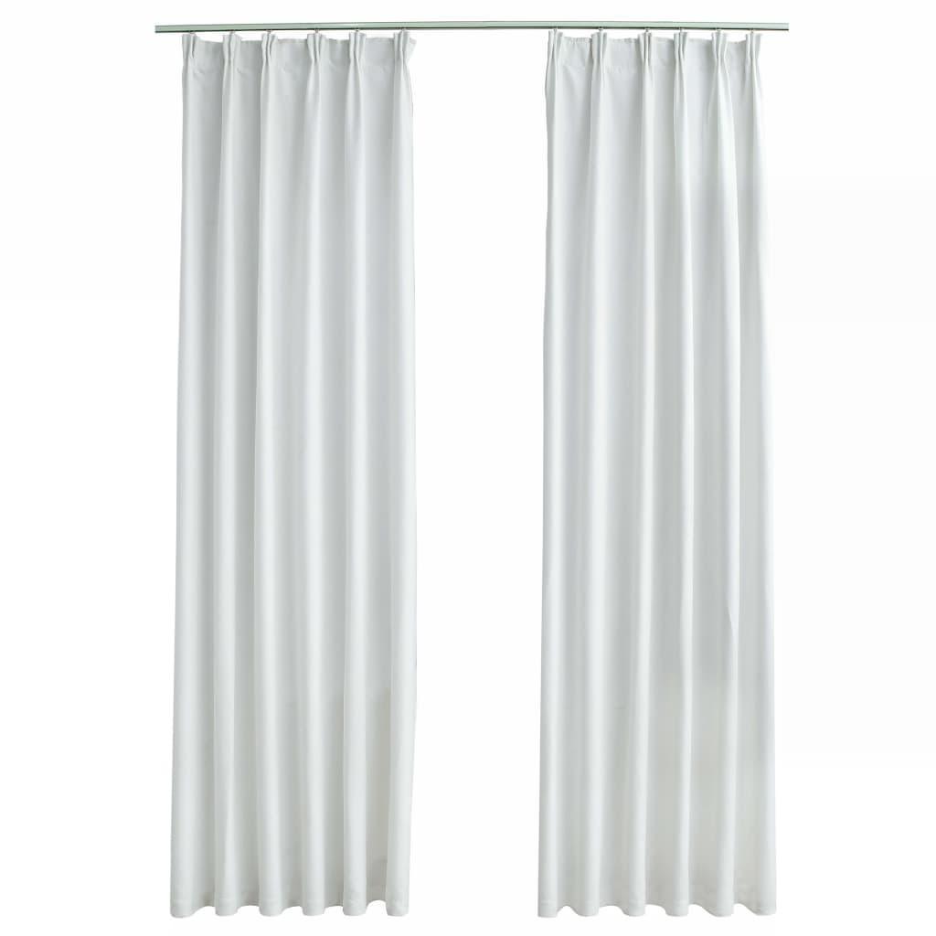 Draperii opace cu cârlige, 2 buc., alb ivoriu, 140 x 225 cm