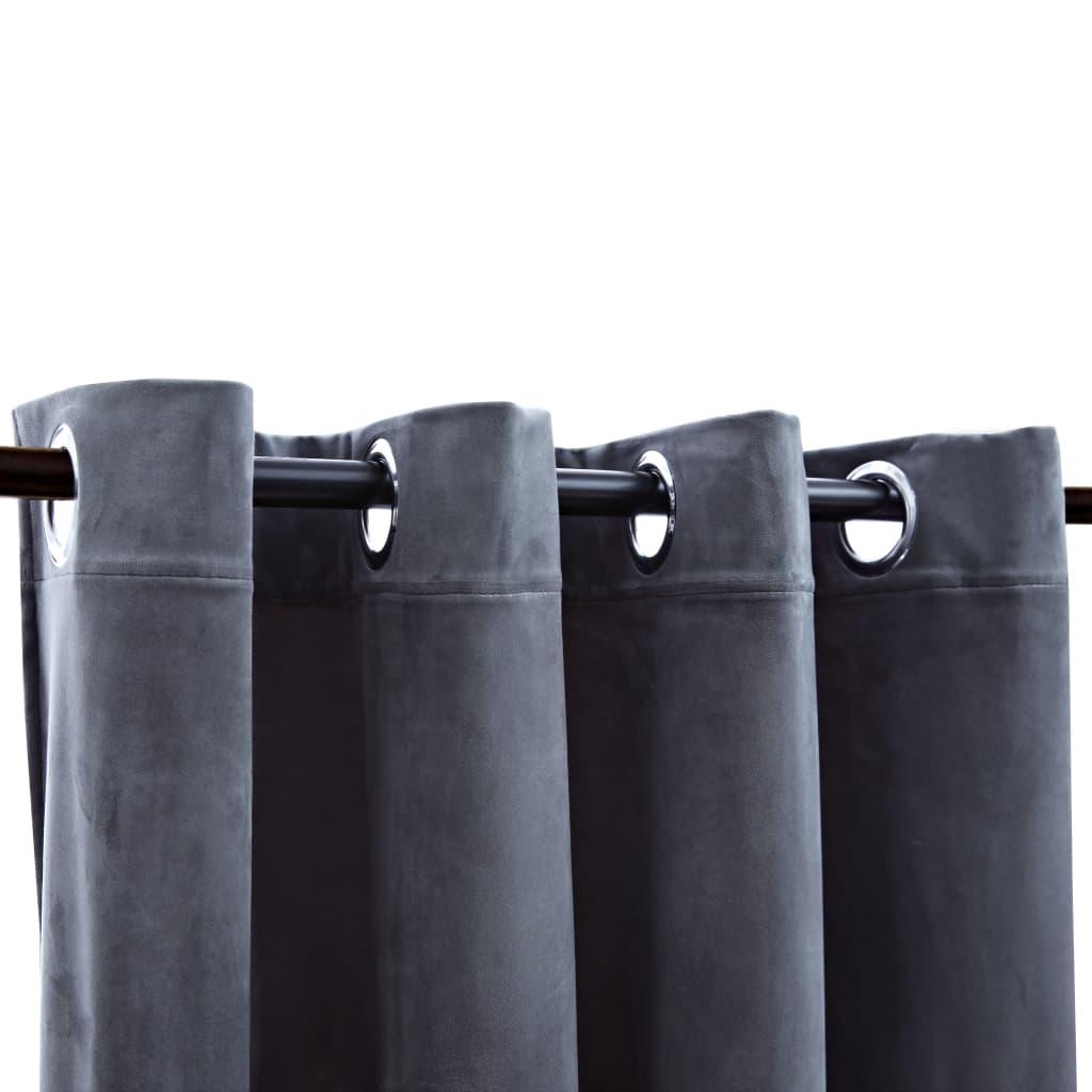 Draperii opace cu inele, 2 buc., antracit, 140×175 cm, catifea