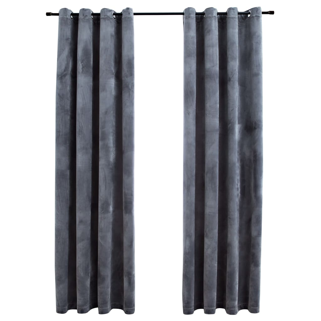 vidaXL Draperii opace cu inele, 2 buc., antracit, 140×245 cm, catifea