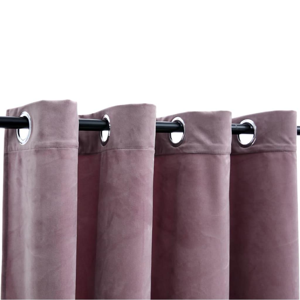 vidaXL Draperii opace cu inele, 2 buc., roz antic, 140×245 cm, catifea