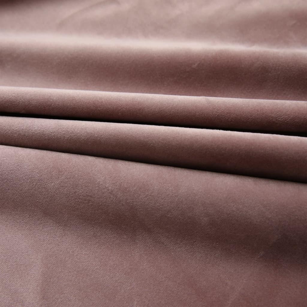 vidaXL Draperie opacă, roz antichizat, 290×245 cm, catifea, cu cârlige