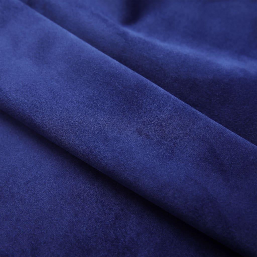 vidaXL Draperii opace & inele 2 buc. albastru închis 140x175cm catifea