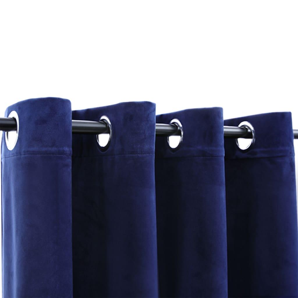 Draperie opacă albastru închis 290x245cm catifea inele metalice