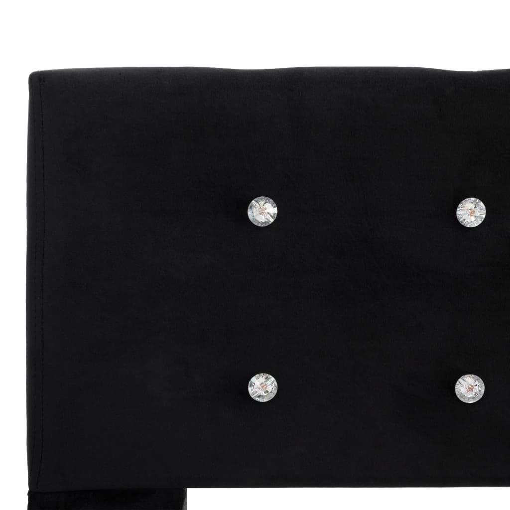 Pat cu saltea, spumă cu memorie, negru, 120 x 200 cm, catifea