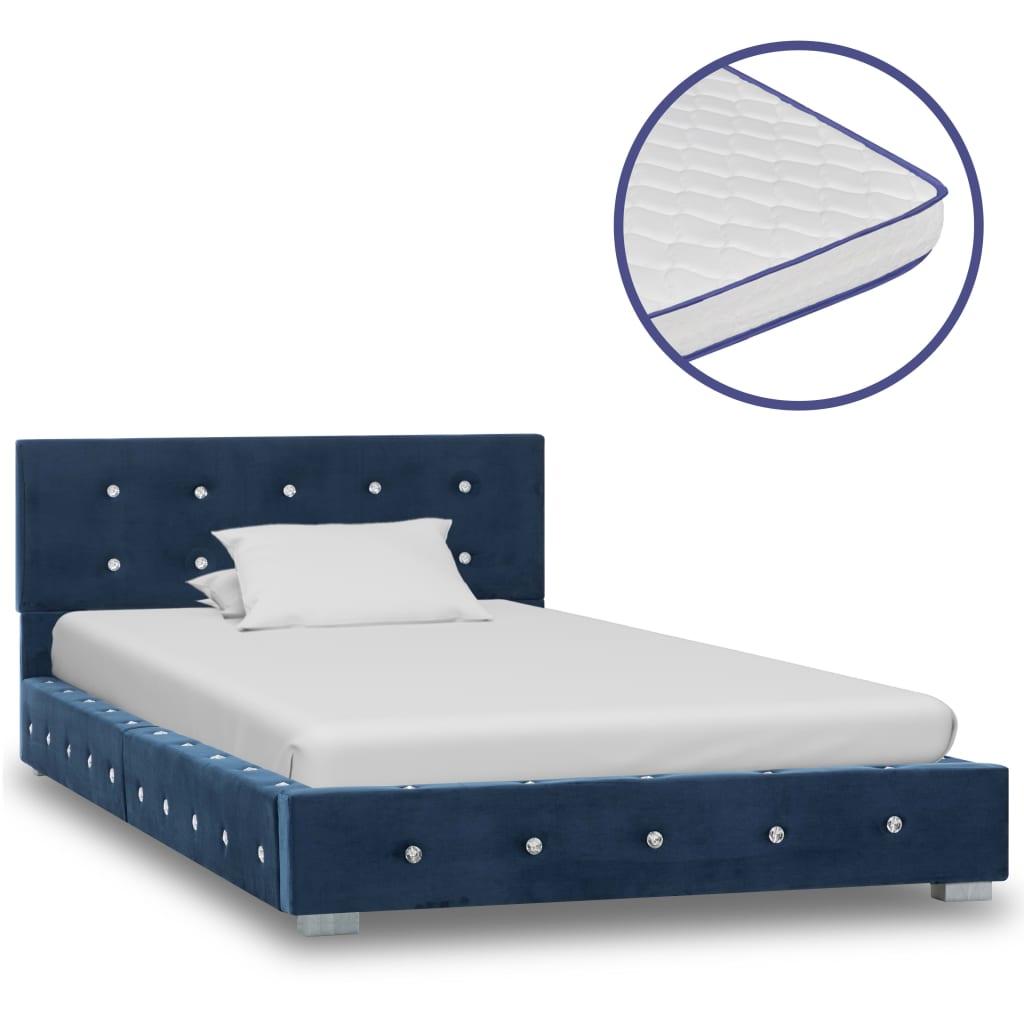vidaXL Pat cu saltea din spumă cu memorie, albastru, 90x200cm, catifea