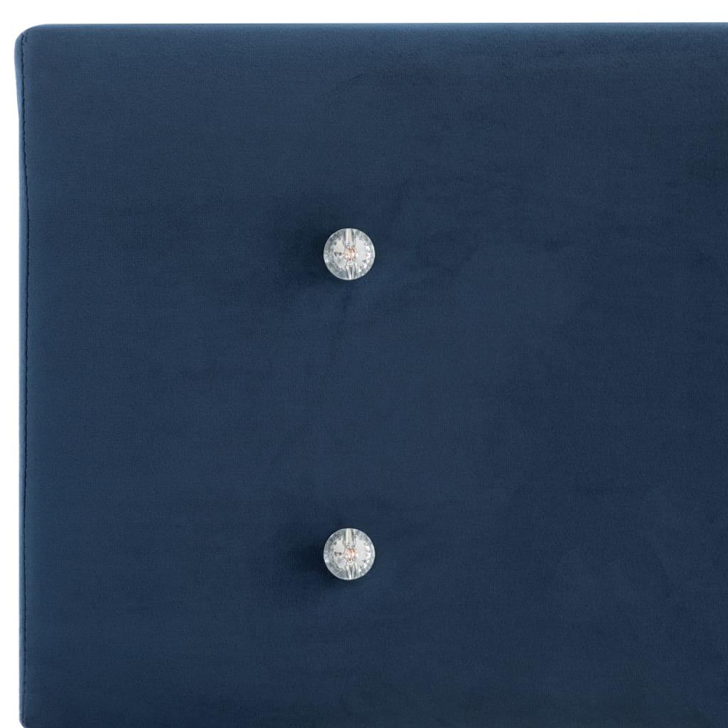 Pat cu saltea, spumă cu memorie, albastru, 160×200 cm, catifea