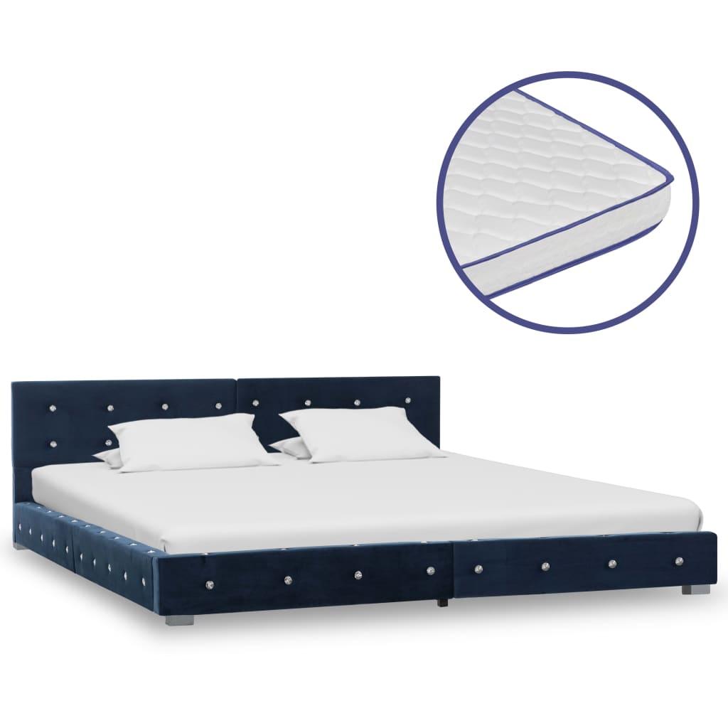vidaXL Pat cu saltea, spumă cu memorie, albastru, 180×200 cm, catifea
