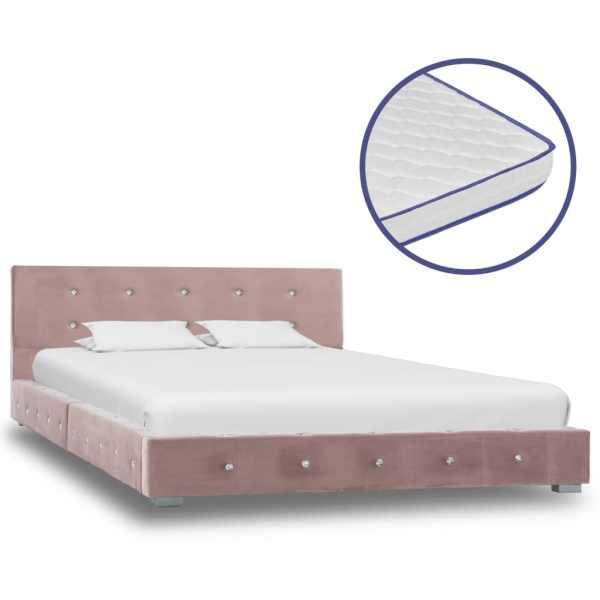 vidaXL Pat cu saltea din spumă cu memorie, roz, 120×200 cm, catifea