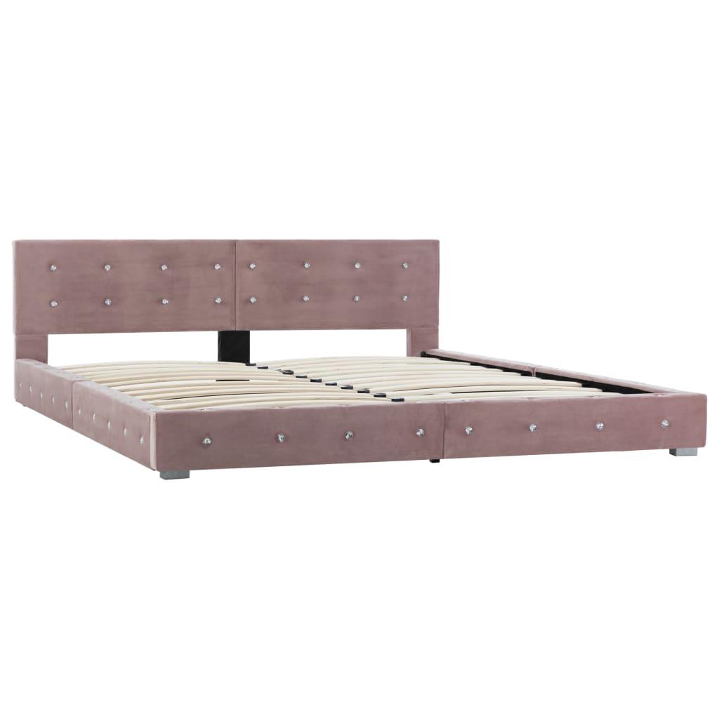 Pat cu saltea, spumă cu memorie, roz, 160 x 200 cm, catifea