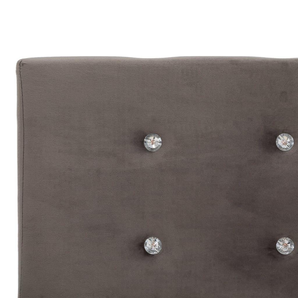 Pat cu saltea, gri, 120×200 cm, catifea
