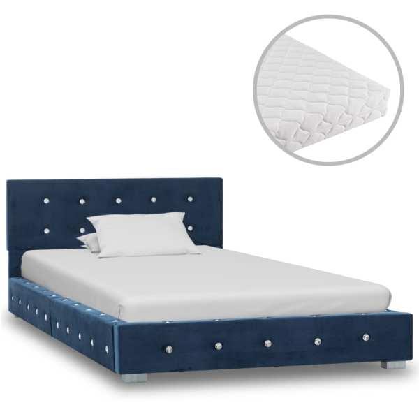 vidaXL Pat cu saltea, albastru, 90 x 200 cm, catifea