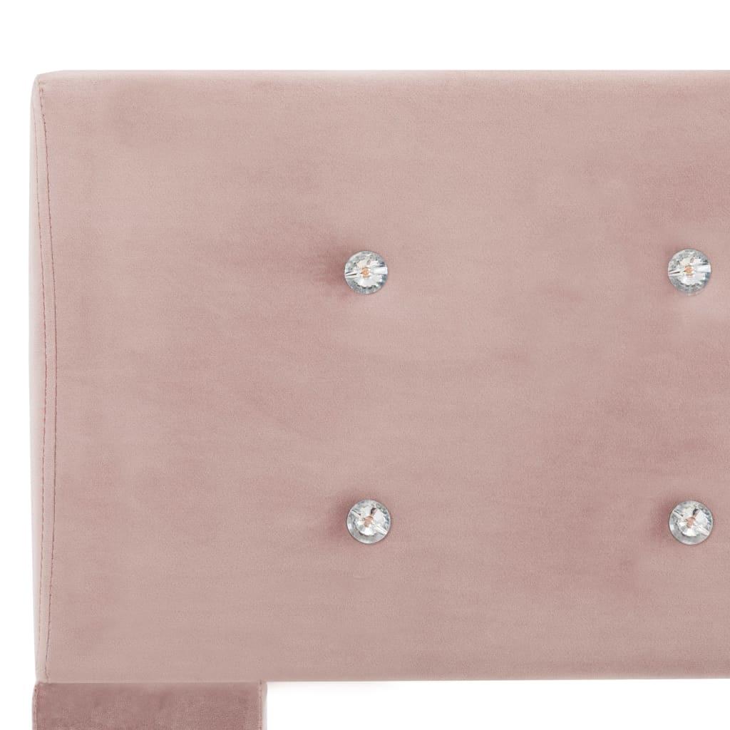 Pat cu saltea, roz, 140 x 200 cm, catifea