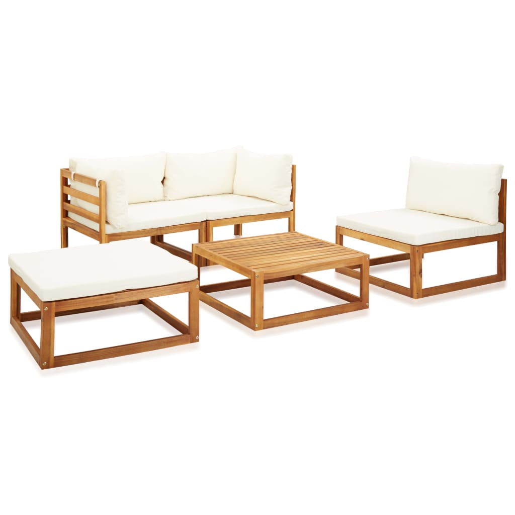 Set mobilier grădină cu perne, 5 piese, lemn masiv acacia