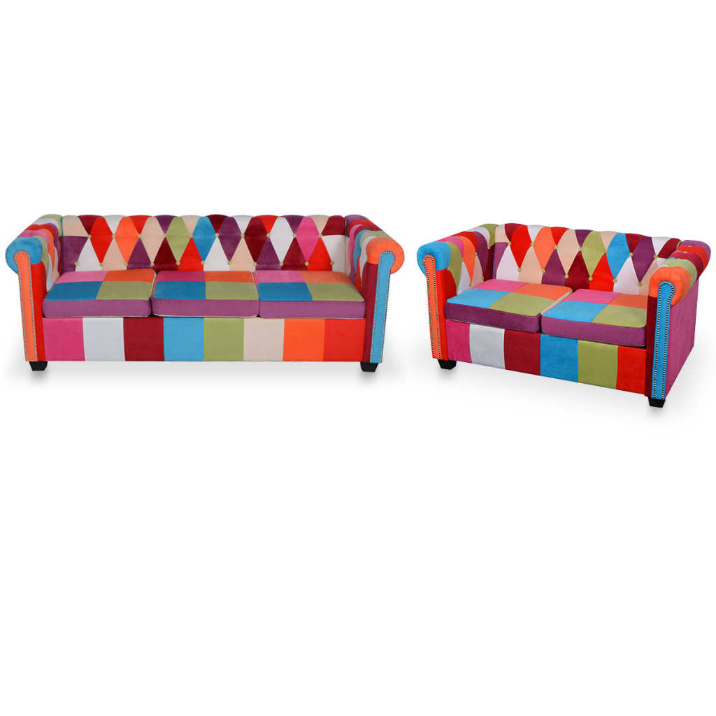 vidaXL Set canapea Chesterfield, 2 piese, material textil