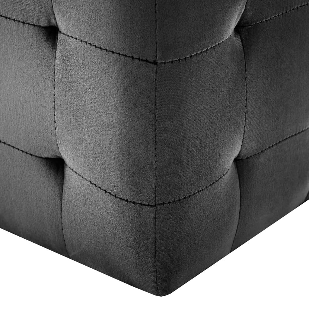 Taburet, 2 buc., negru, 30 x 30 x 30 cm, țesătură din catifea