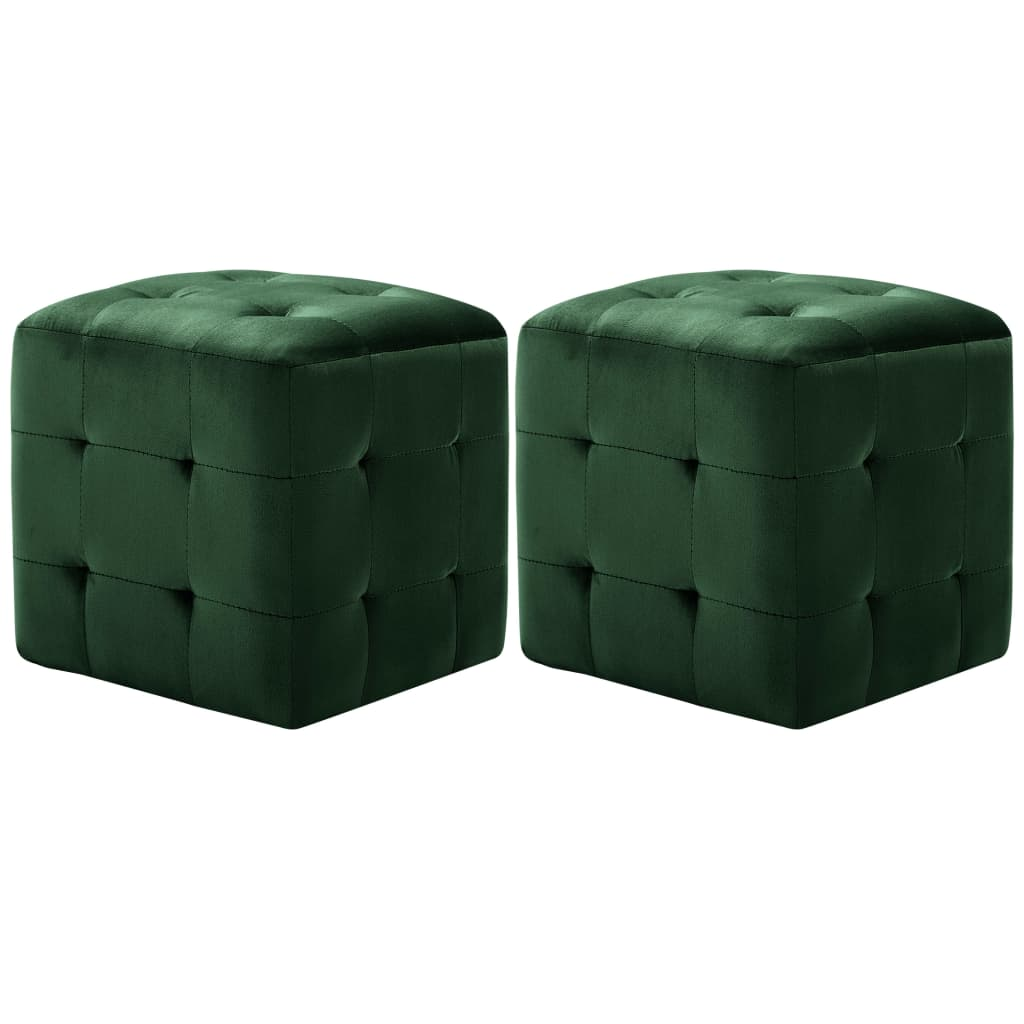 vidaXL Taburet, 2 buc., verde, 30 x 30 x 30 cm, țesătură catifea