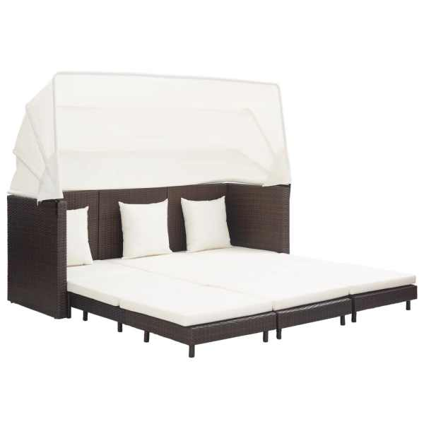 vidaXL Canapea extensibilă cu 3 locuri, cu acoperiș poliratan, maro