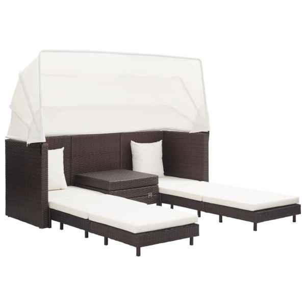 Canapea extensibilă cu 3 locuri, cu acoperiș poliratan, maro