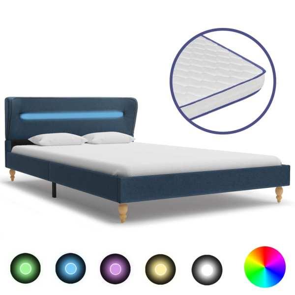 vidaXL Pat cu LED și saltea spumă memorie albastru 140 x 200 cm textil