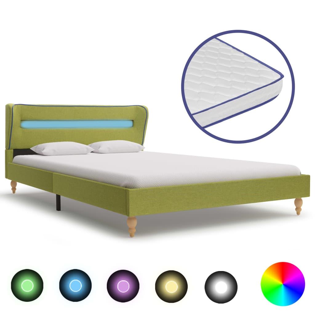 vidaXL Pat cu LED și saltea spumă memorie, verde, 140 x 200 cm, textil