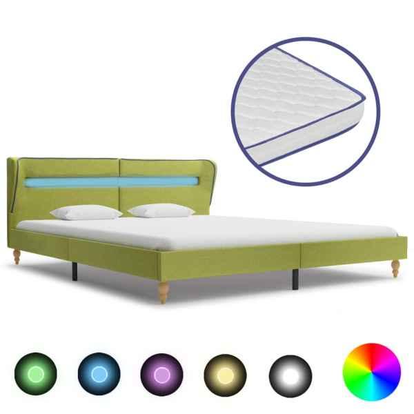 vidaXL Pat cu LED și saltea spumă memorie, verde, 180 x 200 cm, textil