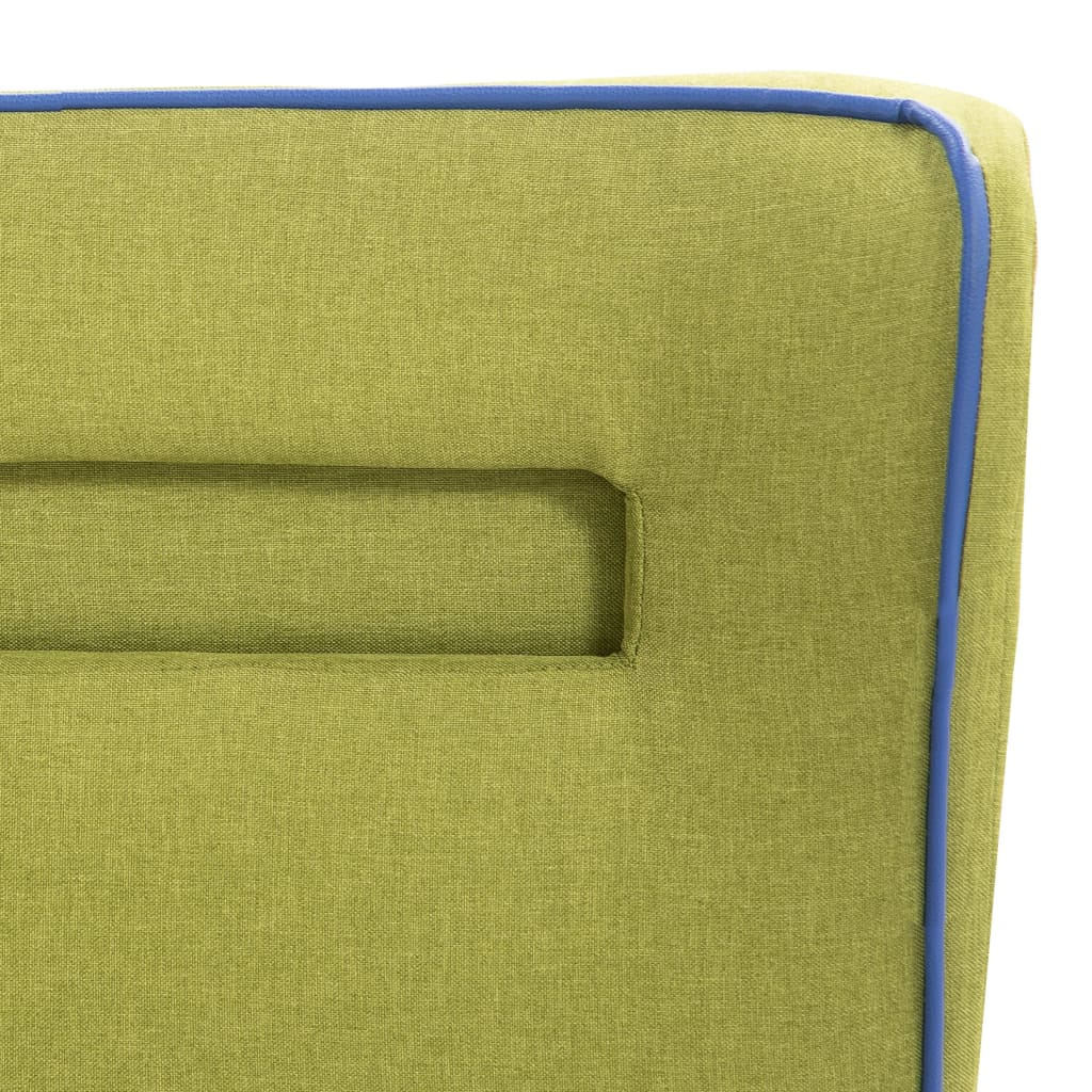 Pat cu LED și saltea, verde, 140 x 200 cm, material textil