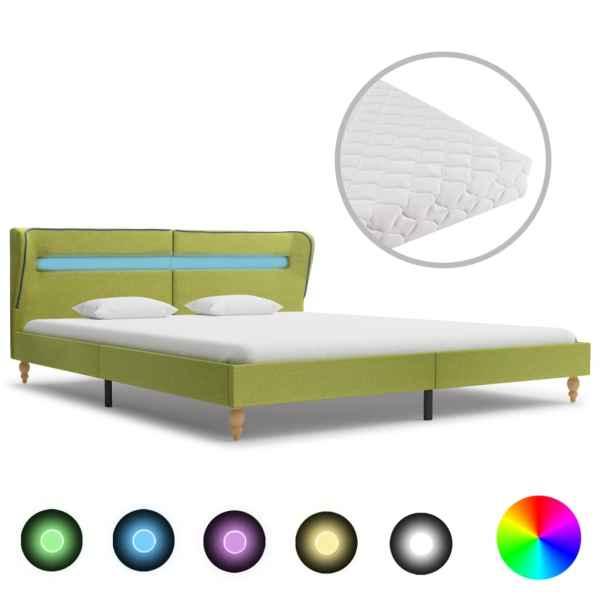 vidaXL Pat cu LED și saltea, verde, 160 x 200 cm, material textil