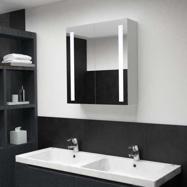 vidaXL Dulap de baie cu oglindă și LED, 62 x 14 x 60 cm