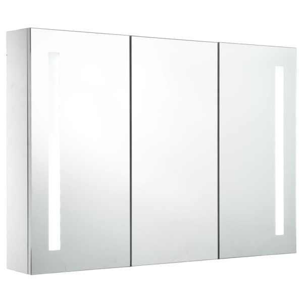 Dulap de baie cu oglindă și LED, 89 x 14 x 62 cm