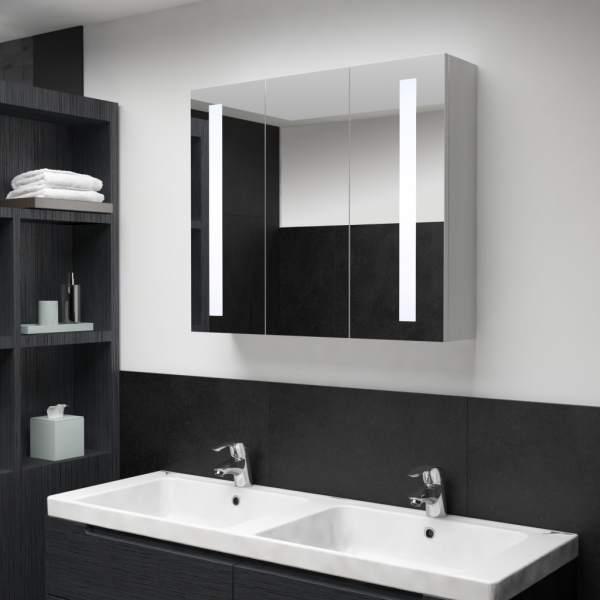 vidaXL Dulap de baie cu oglindă și LED, 89 x 14 x 62 cm