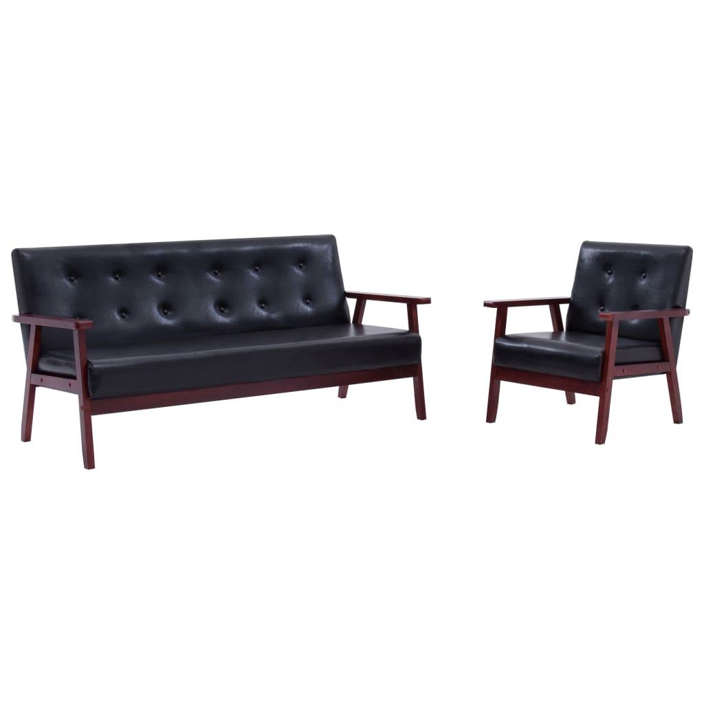 vidaXL Set canapea, 2 buc., negru, piele artificială,