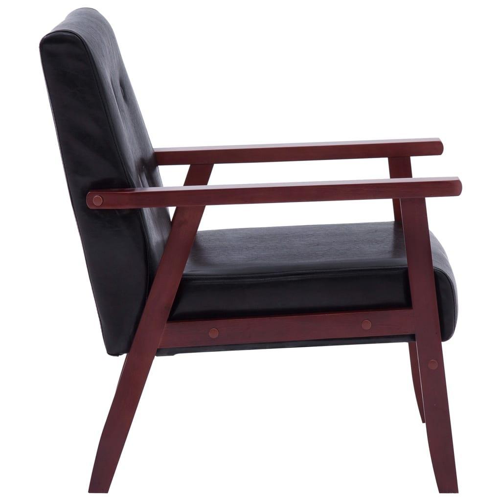 Set canapea, 2 buc., negru, piele artificială,