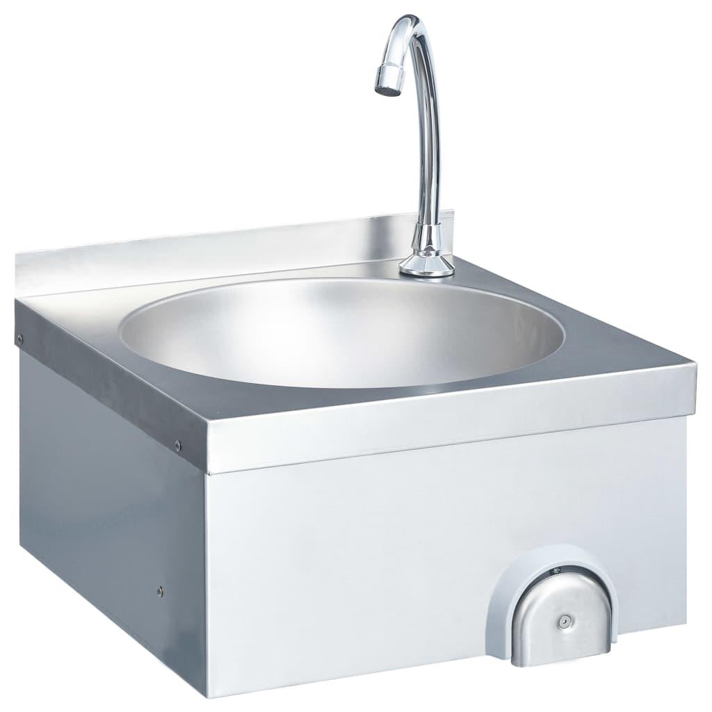 Chiuvetă spălat mâini cu robinet dozator săpun, oțel inoxidabil