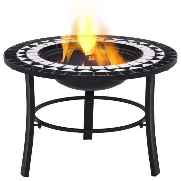vidaXL Vatră de foc cu mozaic, negru și alb, 68 cm, ceramică