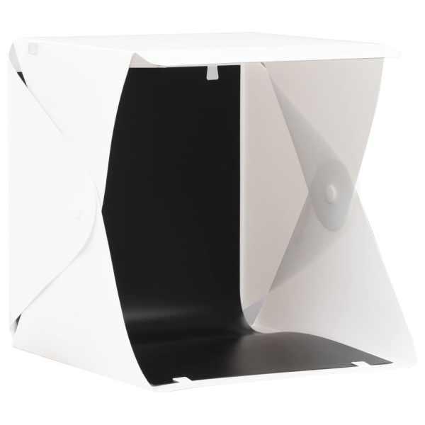 vidaXL Cort foto cu LED-uri pliabil, alb, 23 x 25 x 25 cm